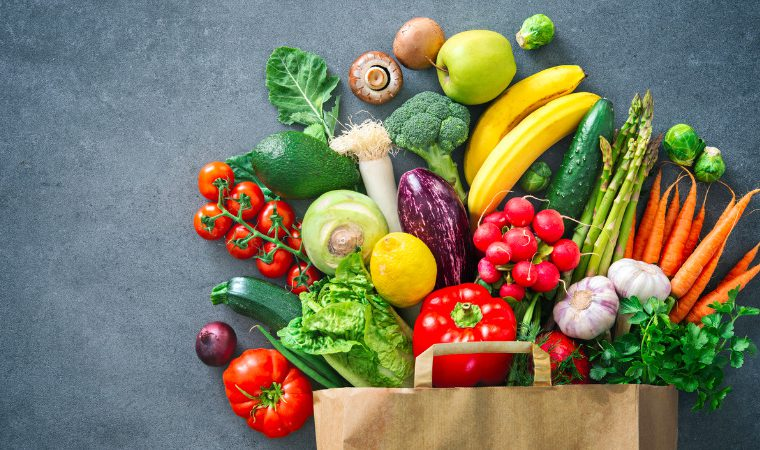 Original shopping bag full of fresh vegetables and fruits picture id1128687123 760x450
